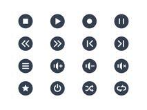 set xxl för knappsymbolsmultimedior Arkivbilder
