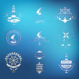 Set of yacht club logos on blurred background vector illustration