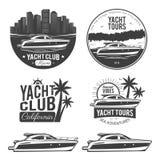 Set of yacht logos Stock Photography