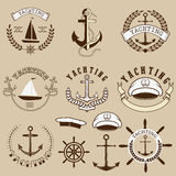 Set of the yachting  labels and design elements Royalty Free Stock Photo