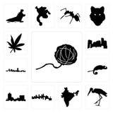 Set of yarn ball, stork, india, minnesota, montana, chameleon, maryland outline, in black, marijuana leaf icons. Set Of 13 simple  icons such as yarn ball, stork Stock Photography