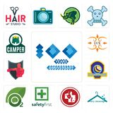 Set of 100 year anniversary, dry cleaning, veterinary medicine, safety first, oxygen, volleyball tournament, boxing club, lux, cam. Set Of 13 simple  icons such Royalty Free Stock Photo