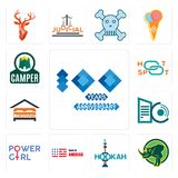 Set of 100 year anniversary, rhino, hookah, made in america, girl power, datacenter, lodging, hotspot, camper icons. Set Of 13 simple  icons such as 100 year Royalty Free Stock Image