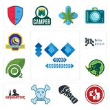 Set of 100 year anniversary, veterinary medicine, shoe print, skull and crossbones, gangster, rhino, oxygen, bike chain, volleybal. Set Of 13 simple  icons such Royalty Free Stock Photos