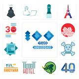 Set of 100 year anniversary, 40 years, rhino, hotel, handyman, skull and crossbones, statement, canadian leaf, 30 anniversary icon. Set Of 13 simple  icons such Stock Photo