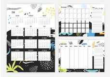Set of year 2018 calendar, month and weekly planner templates with colorful dots, stains, blots on background. Schedule. Or timetable. Effective planning. Week Stock Images