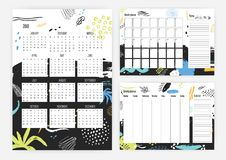 Set of year 2018 calendar, month and weekly planner templates with colorful dots, stains, blots and paint traces on. Background. Schedule or timetable Stock Photo