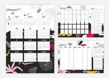 Set of 2019 year calendar, monthly and weekly planner templates, notes and to do list decorated with artistic scribble Royalty Free Illustration