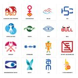 Set of 1 year warranty, ain, neighborhood watch, mascot, makeup, eye, vitruvian man, emlak, dungeons and dragons icons. Set Of 16 simple  icons such as 1 year Royalty Free Stock Images