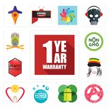 Set of 1 year warranty, anarchy, mobile os a, house cleaning, breastfeeding, rastaman, black friday, non gmo, krishna icons. Set Of 13 simple  icons such as 1 Royalty Free Stock Photography