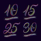 Set of 10, 15, 25, 30 years anniversary. Hand written lettering numbers. Anniversary celebration background for card, poster, print. Trendy colorful style Royalty Free Stock Image
