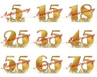 Set of Years celebration design. Anniversary golden number template elements for your birthday party. 3D illustration.  Stock Images