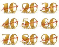 Set of Years celebration design. Anniversary golden number template elements for your birthday party. 3D illustration.  Royalty Free Stock Image