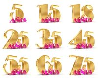Set of Years celebration design. Anniversary golden number template elements for your birthday party. 3D illustration. Translated. From Spanish - Years Stock Photography
