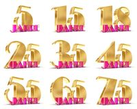 Set of Years celebration design. Anniversary golden number template elements for your birthday party. 3D illustration. Translated. From the German - years Royalty Free Stock Images