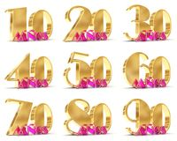 Set of Years celebration design. Anniversary golden number template elements for your birthday party. 3D illustration. Translated. From Spanish - Years Stock Images