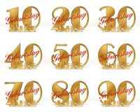 Set of Years celebration design. Anniversary golden number template elements for your birthday party. 3D illustration. Translated. From the German - years Royalty Free Stock Photo