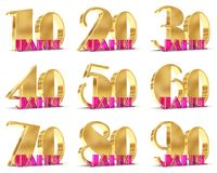 Set of Years celebration design. Anniversary golden number template elements for your birthday party. 3D illustration. Translated. From the German - years Stock Photos