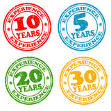 Set of years of experience stamps Royalty Free Stock Images