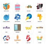 Set of 10 years, foot print, democrat, taxi, stair, paper plane, logistics company, bike shop, martial arts icons. Set Of 16 simple editable icons such as 10 Royalty Free Stock Photos