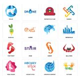 Set of 10 years, logistics company, yoga studio, shrimp, foot print, , olive oil, motorcycle club, polar icons. Set Of 16 simple editable icons such as 10 years Royalty Free Stock Photos