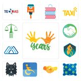 Set of 10 years, pillow, hand shake, disability, wolf face, mountain bike, 3 triangle, hands shaking, scales justice icons. Set Of 13 simple editable icons such Stock Image