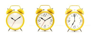 Set of 4 yellow alarm clocks. Set of 3 alarm clocks isolated on white background. Vintage style yellow clock with clean face, numbers, ringing clock. Graphic Royalty Free Stock Photos
