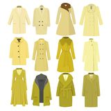 Set of autumn winter models female coat. Vector illustration. Set of yellow autumn winter models female coat. Stylish clothing outfit. Fashion look. Sketch Royalty Free Stock Image