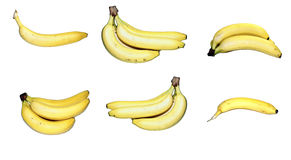 Set of yellow bananas isolated Royalty Free Stock Photography