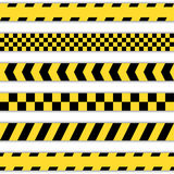 Set of yellow Barrier Tapes. Police tapes, Caution line and danger tapes Royalty Free Stock Photos
