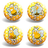 Set of yellow bee badges Royalty Free Stock Photography