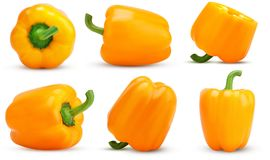 Set yellow bell pepper cut in half, whole royalty free stock photos