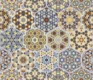 Set from yellow and blue hexagonal patterned tiles. Set of hexagonal patterned tiles. Eastern color pattern for the design of fabric, gift wrapping, floor and Stock Photos