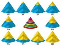 Set of yellow blue isometry pyramid charts. Elements for infographics. Vector Stock Photo