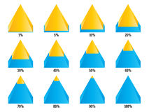 Set of yellow blue isometry pyramid charts with symmetric layered percent. Elements for infographics. Vector Royalty Free Stock Photo