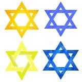 Set of Yellow and Blue Mosaic  David Stars Royalty Free Stock Images
