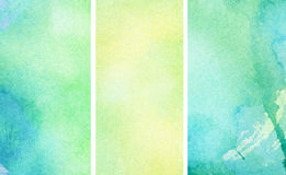 Set of yellow and blue watercolor banners for your Royalty Free Stock Photo