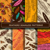 Set of yellow brown abstract ethnic bird feather seamless patter Stock Photos