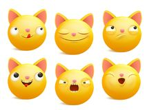 Set of yellow cartoon emoji cat characters in different emotions. Vector illustration Royalty Free Stock Photo