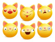 Set of yellow cartoon emoji cat characters in different emotions. Vector illustration Stock Images