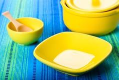 Set of yellow ceramic ware Stock Photos