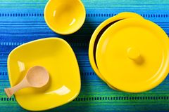 Set of yellow ceramic ware Stock Images