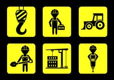 Set yellow construction icon on flat design style Stock Images