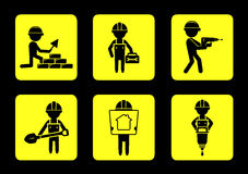 Set yellow construction icons with builders Stock Photos