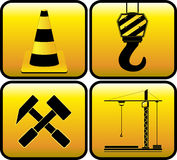 Set yellow construction sign Royalty Free Stock Photography