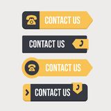 Set of yellow contact buttons royalty free illustration