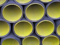 Set of yellow  corrugated tubes Stock Images
