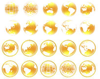 Set of yellow 3d globe icon with highlights Stock Photos