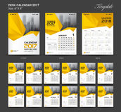 Set Yellow Desk Calendar 2017 year size 6 x 8 inch template. Set Yellow Desk Calendar 2017 year size  6 x 8 inch template, Set of 12 Months, Week Starts Monday Royalty Free Stock Image