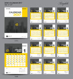 Set yellow Desk Calendar 2017 year size  6 x 8 inch template Stock Photos